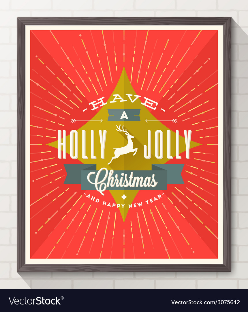Type christmas design with deer and sunburst rays vector | Price: 1 Credit (USD $1)