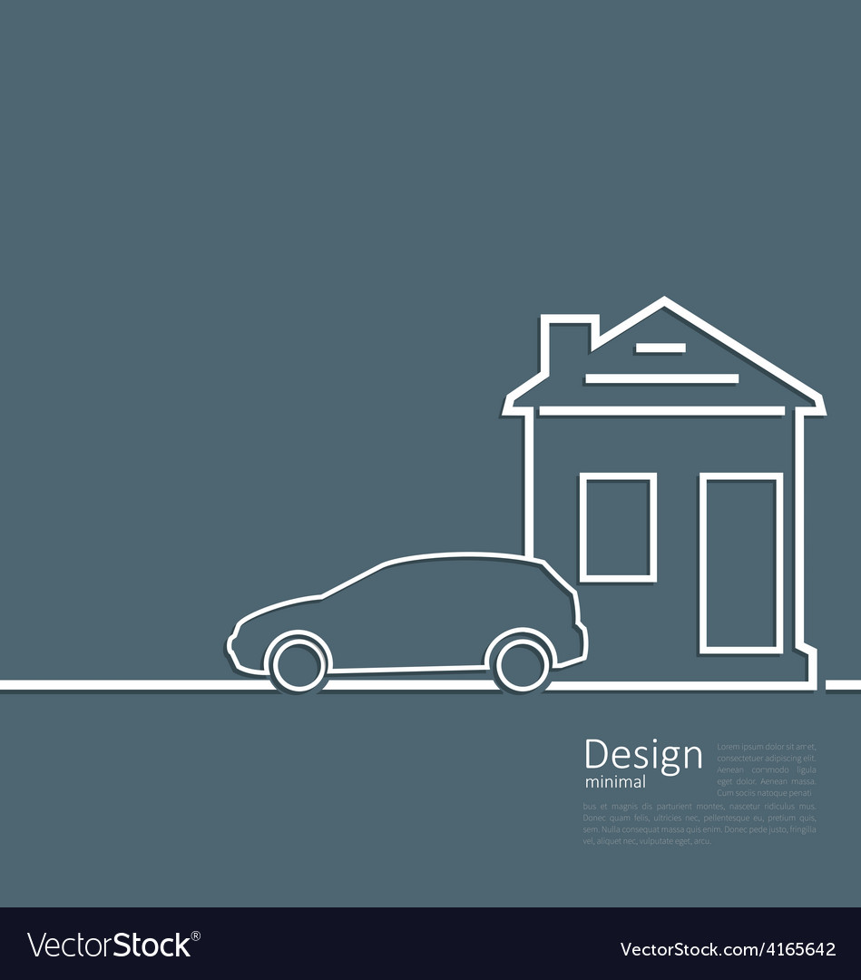 Web template house and parking car logo in minimal vector | Price: 1 Credit (USD $1)