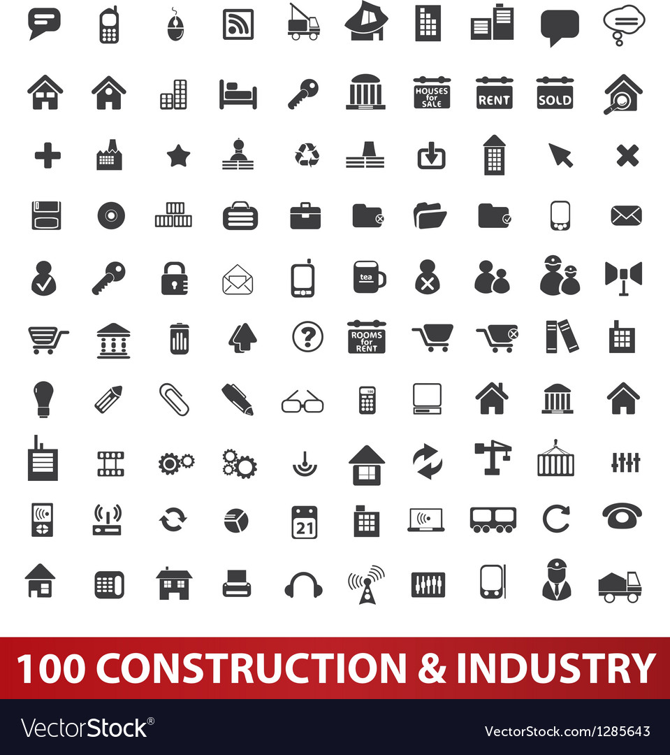100 architecture construction  industry icons set vector | Price: 1 Credit (USD $1)