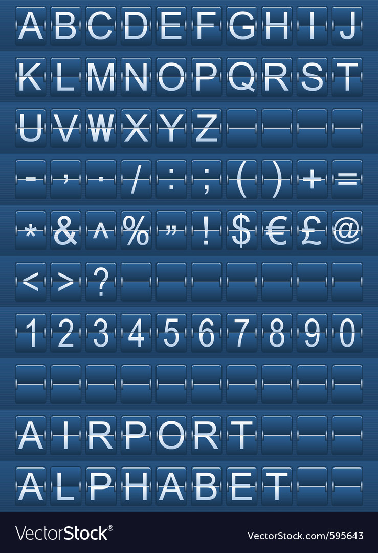 Airport alphabet blue vector | Price: 1 Credit (USD $1)