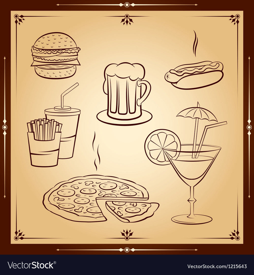 Fast food icon set vector | Price: 1 Credit (USD $1)