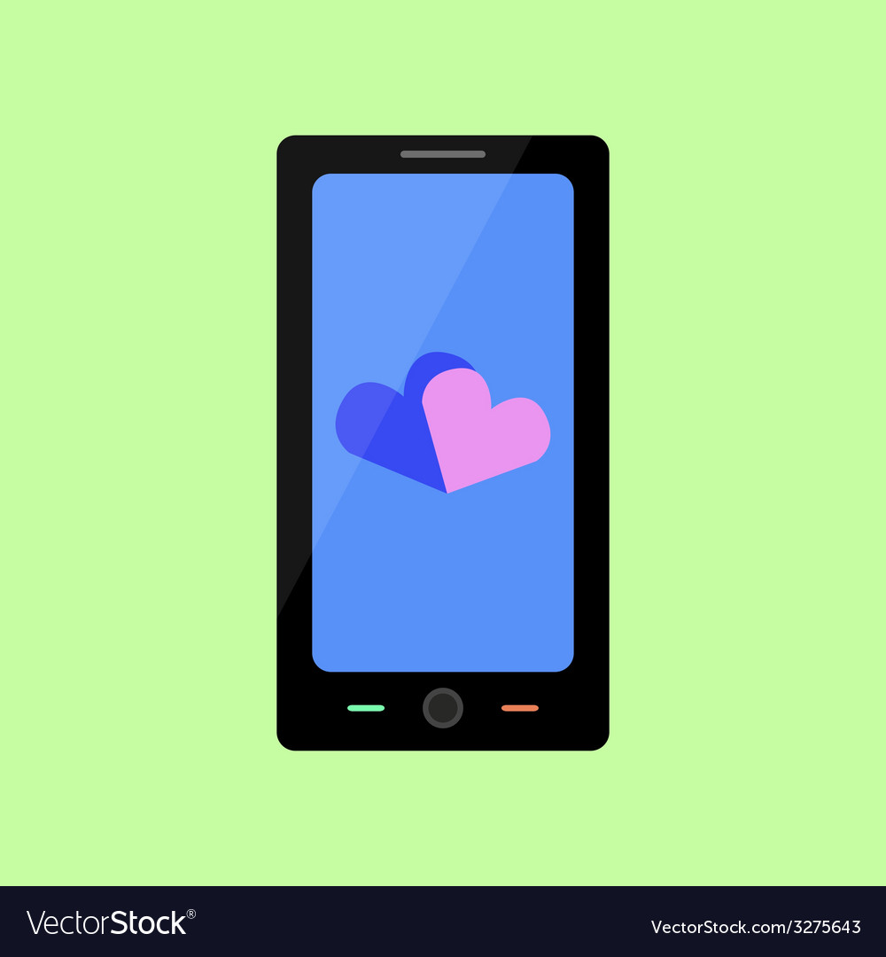 Flat style smart phone with hearts vector | Price: 1 Credit (USD $1)