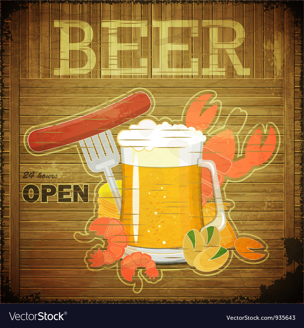 Glass of beer and snack on wooden background vector | Price: 3 Credit (USD $3)