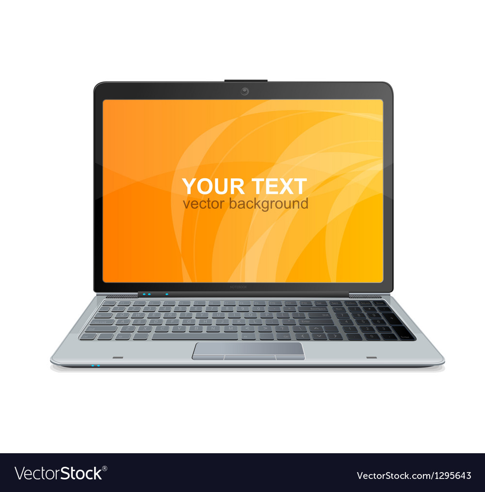 Laptop isolated and text vector | Price: 1 Credit (USD $1)
