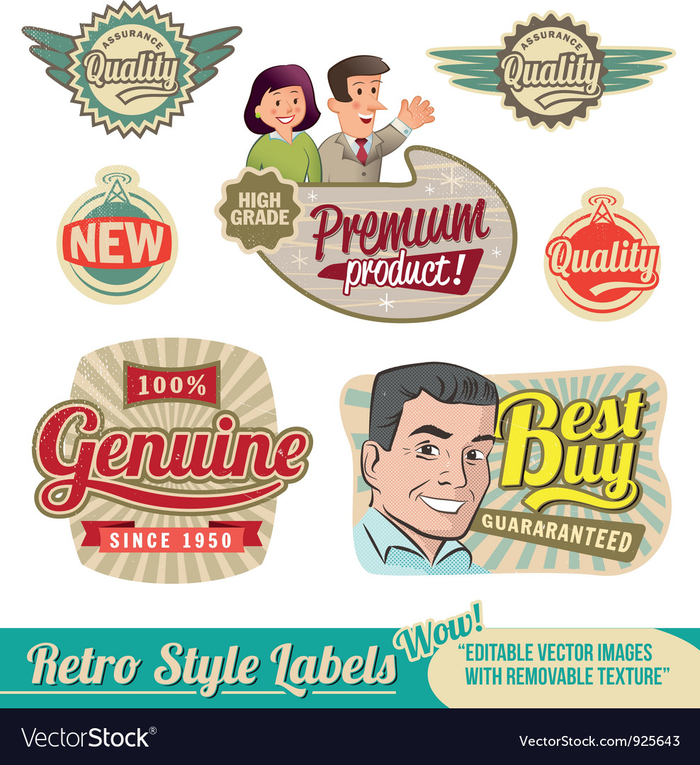 Retro label set vector | Price: 3 Credit (USD $3)