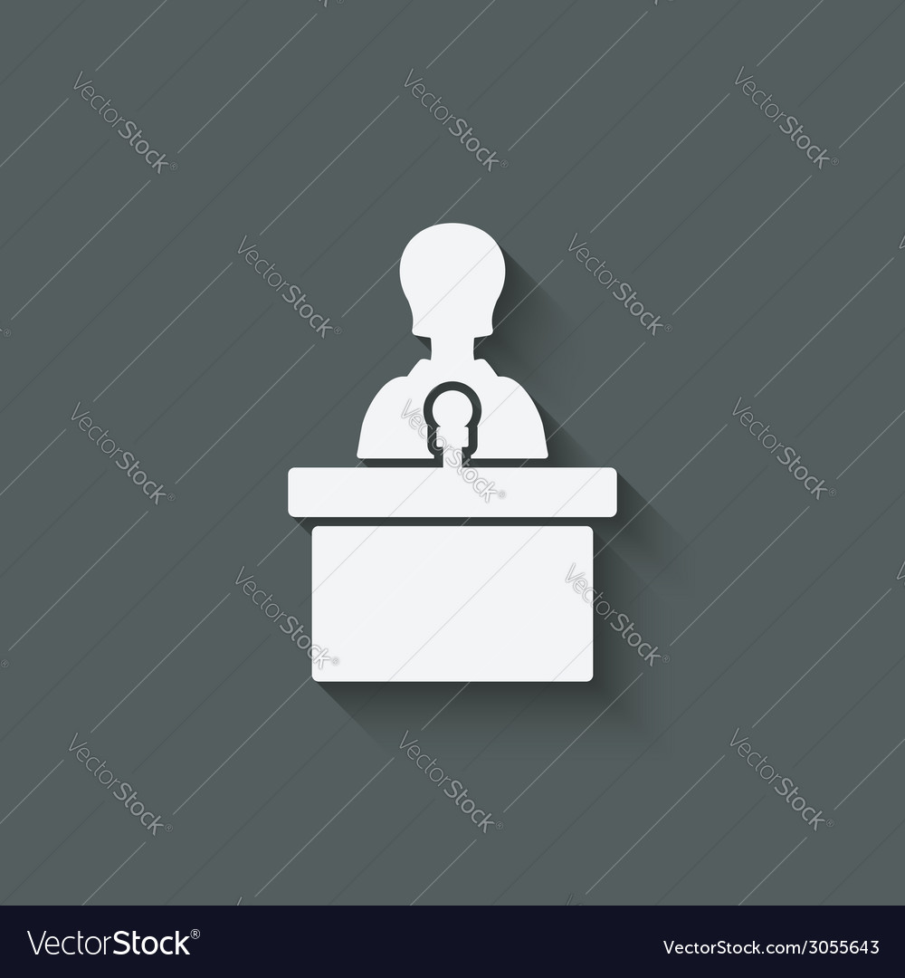 Woman on podium with microphone vector | Price: 1 Credit (USD $1)