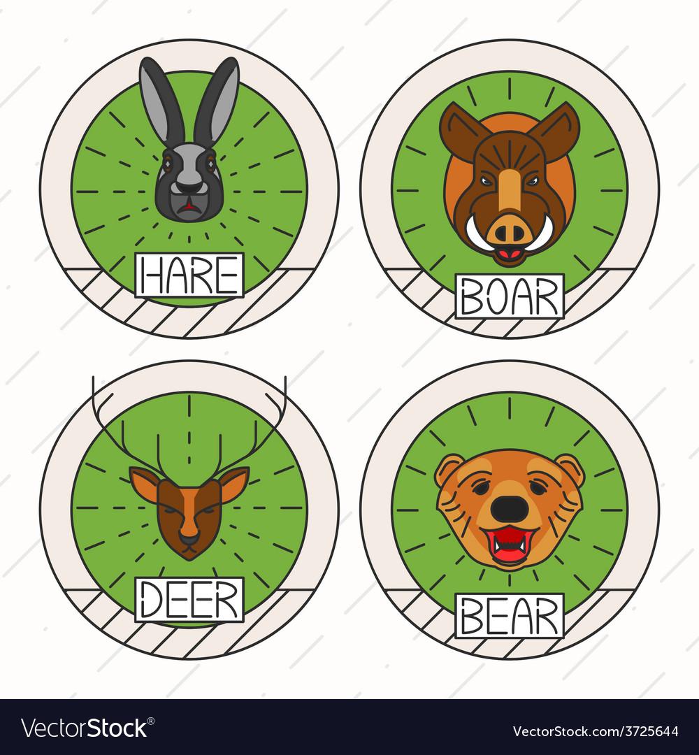 Animals line logo set nature symbol deer bear hare vector | Price: 1 Credit (USD $1)