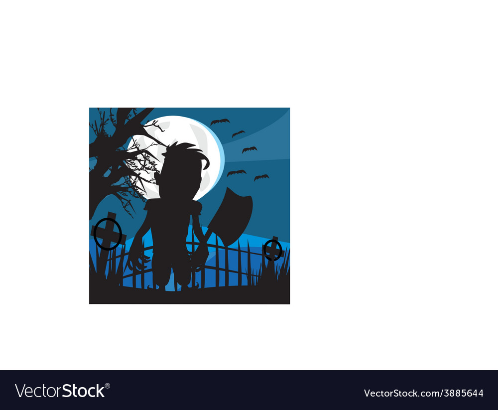 Crazy man with an ax on a dark night vector | Price: 1 Credit (USD $1)