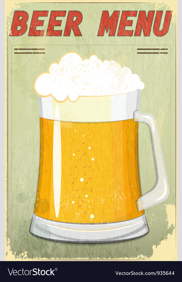 Glass of beer vintage background vector | Price: 3 Credit (USD $3)