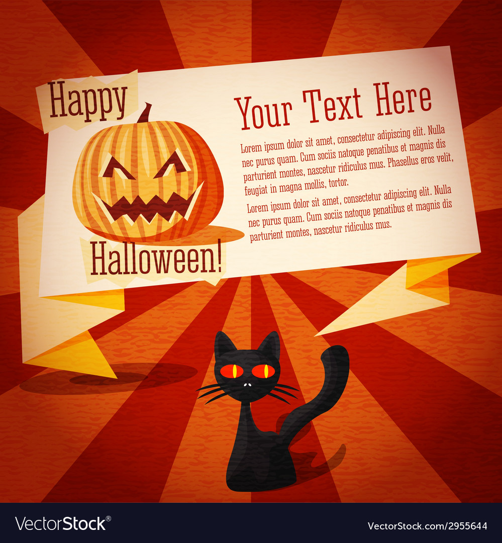 Happy halloween cute retro banner on the craft vector | Price: 1 Credit (USD $1)