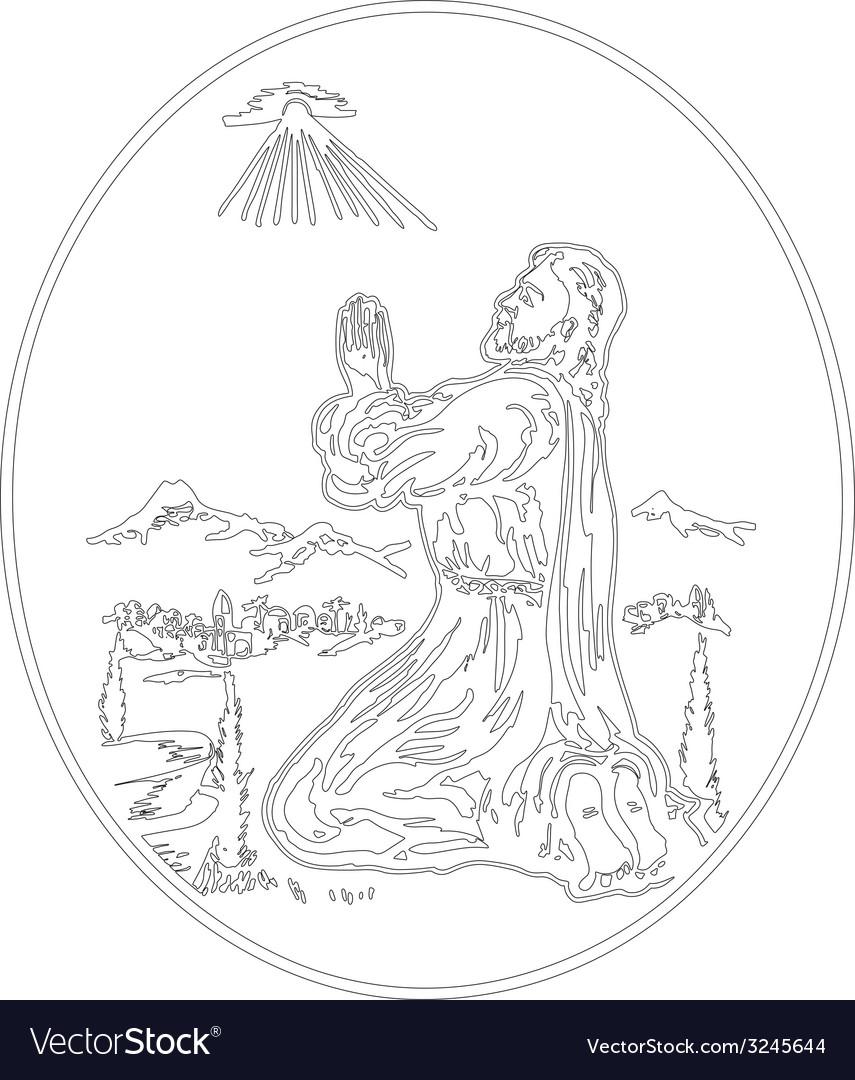 Jesus praying vector | Price: 1 Credit (USD $1)