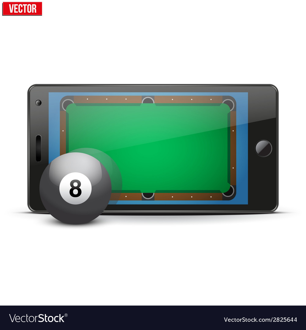 Mobile phone with billiard ball and field on the vector | Price: 1 Credit (USD $1)