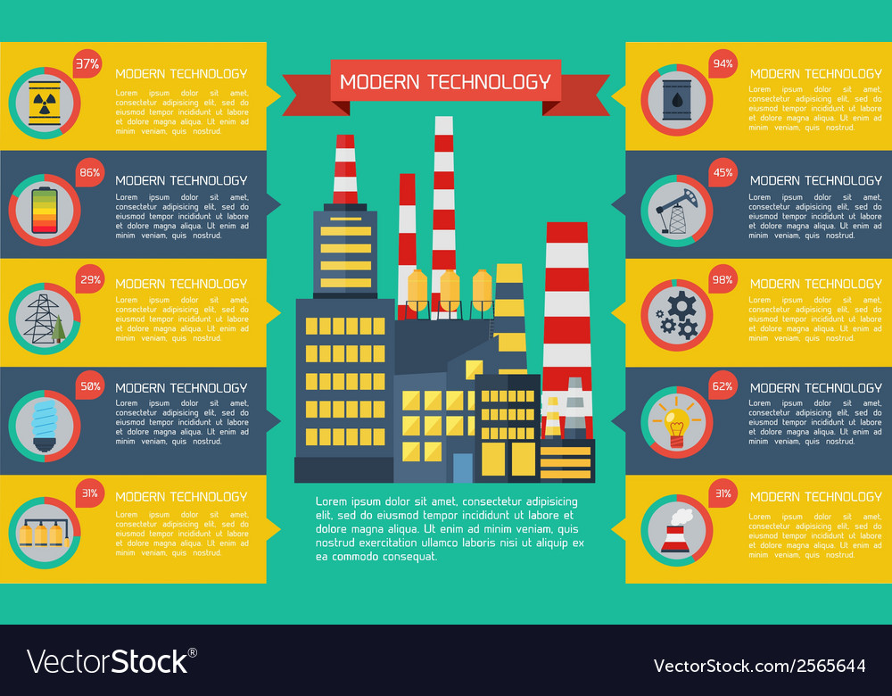 Modern industrial flat infographic background vector | Price: 1 Credit (USD $1)