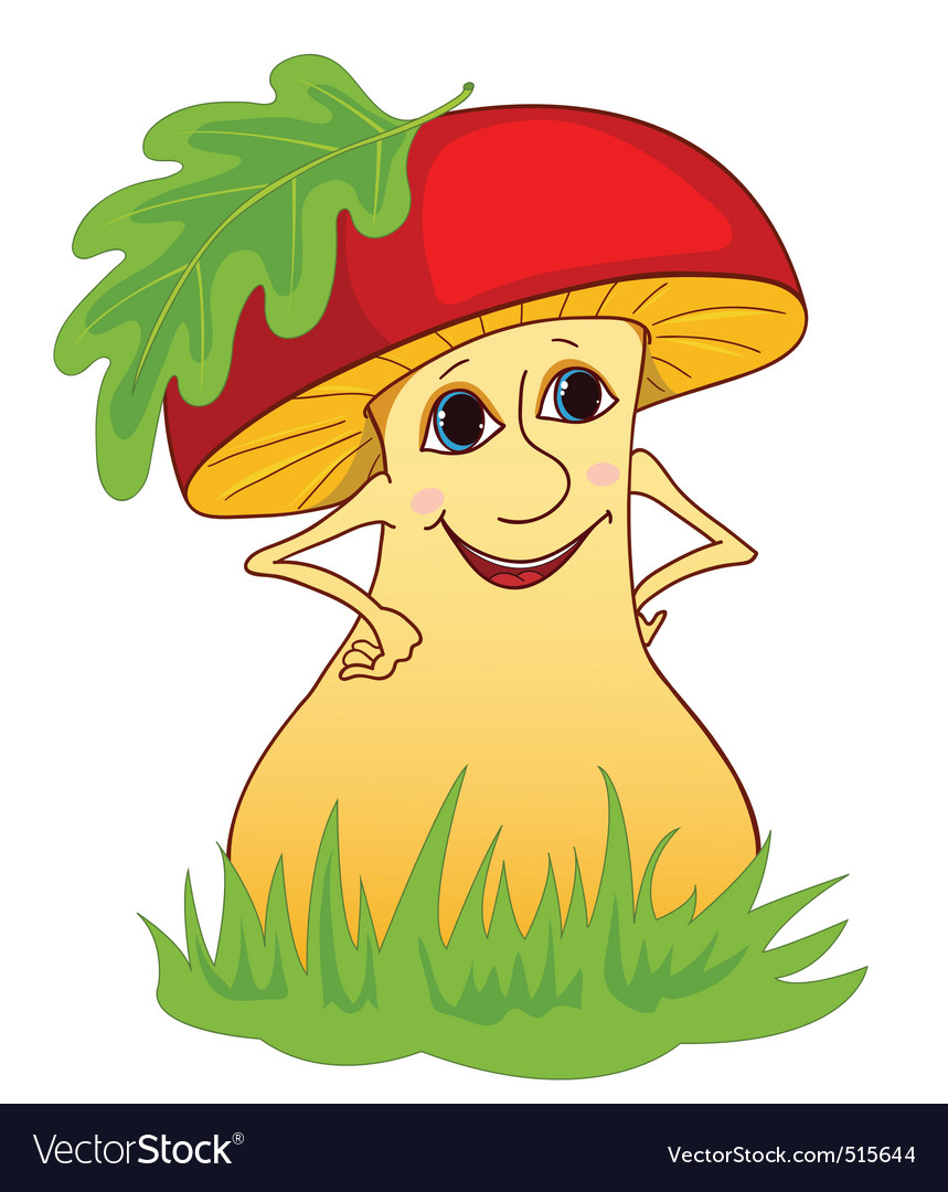 Mushroom on a grass vector | Price: 1 Credit (USD $1)