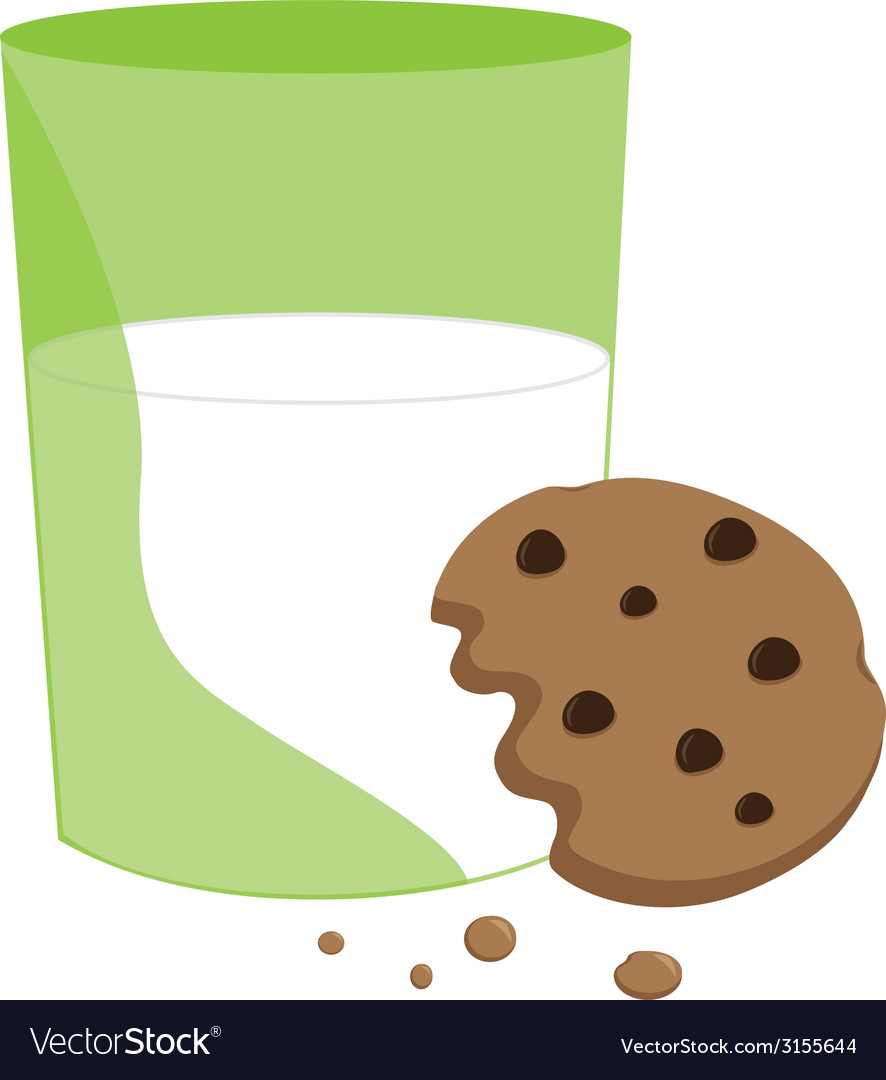 Partially eaten cookie and milk vector | Price: 1 Credit (USD $1)