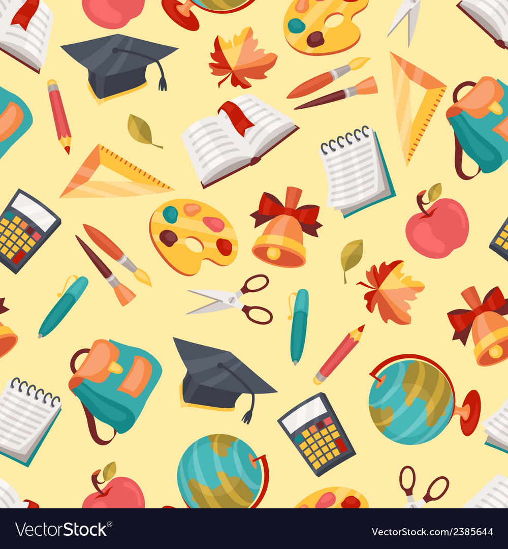 School seamless pattern with education icons and vector | Price: 1 Credit (USD $1)