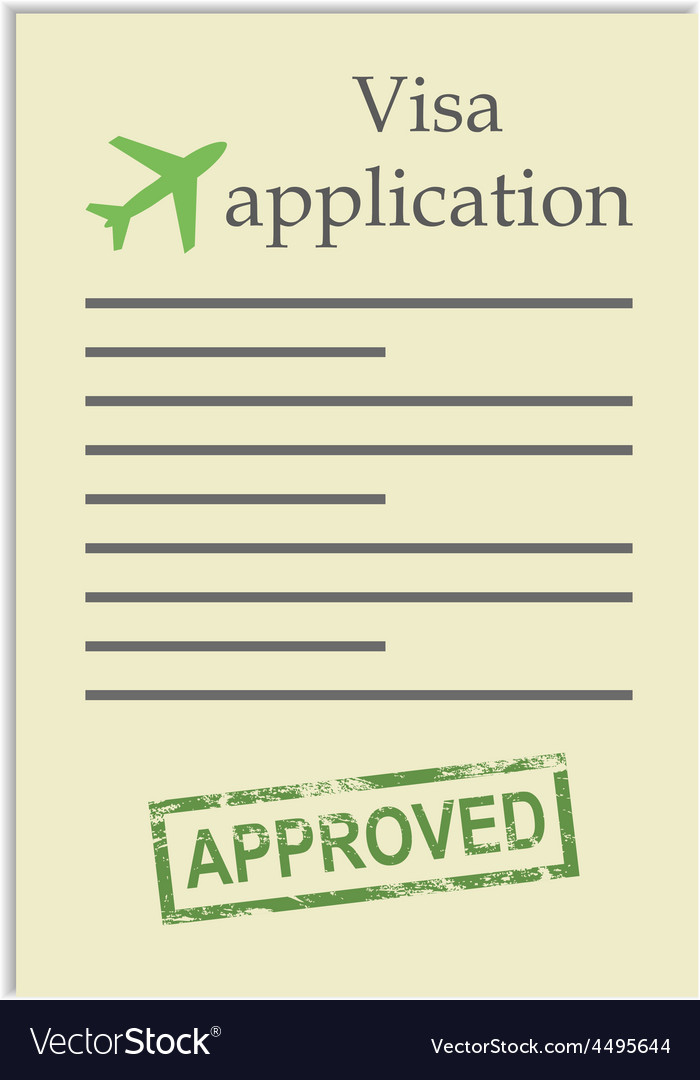 Visa application with approved stamp vector | Price: 1 Credit (USD $1)