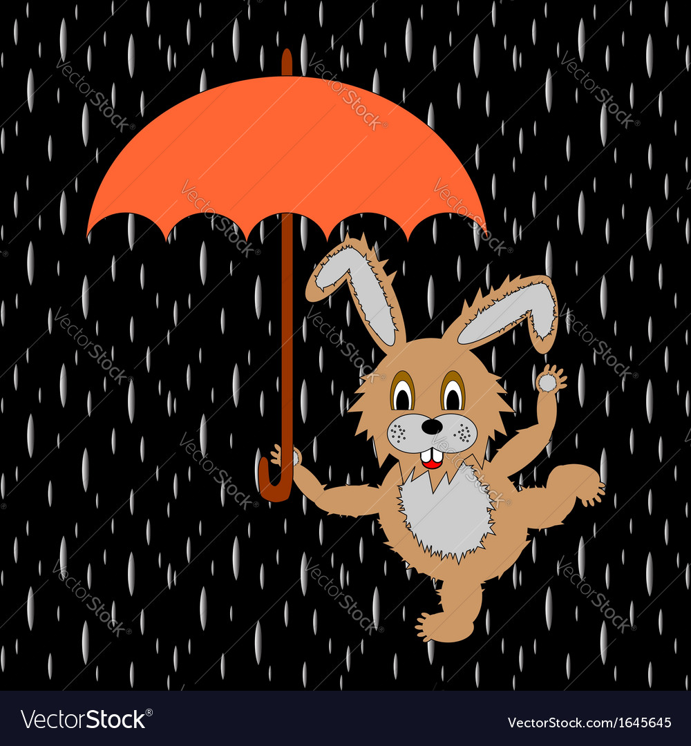 A funny rabbit with umbrella in the rain vector | Price: 1 Credit (USD $1)