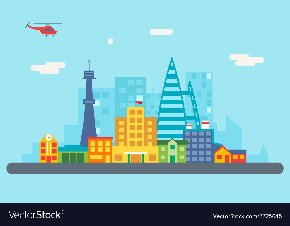 City street landscape real estate skyscrapers vector | Price: 1 Credit (USD $1)