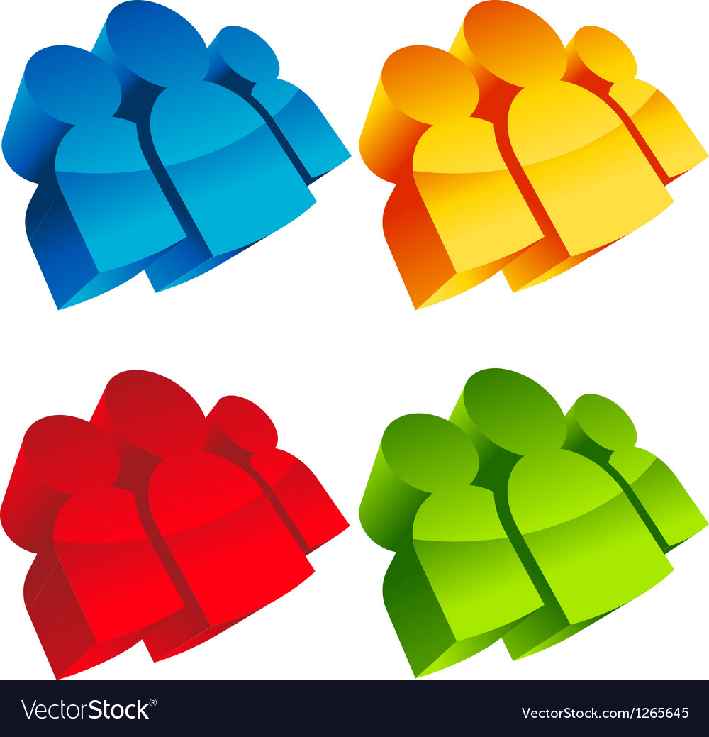 Colorful 3d group icons vector | Price: 1 Credit (USD $1)