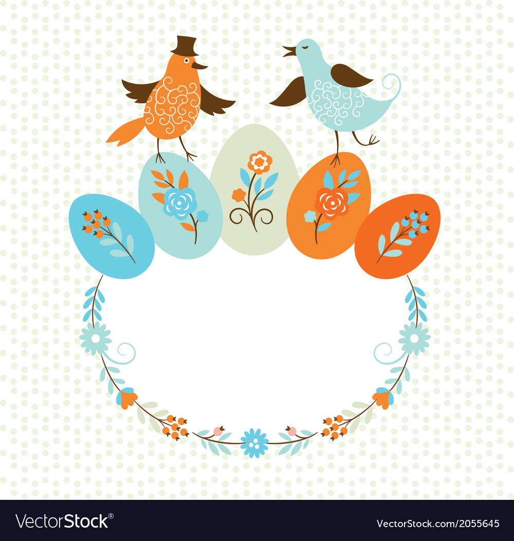 Frame with birds and easter colors eggs vector | Price: 1 Credit (USD $1)