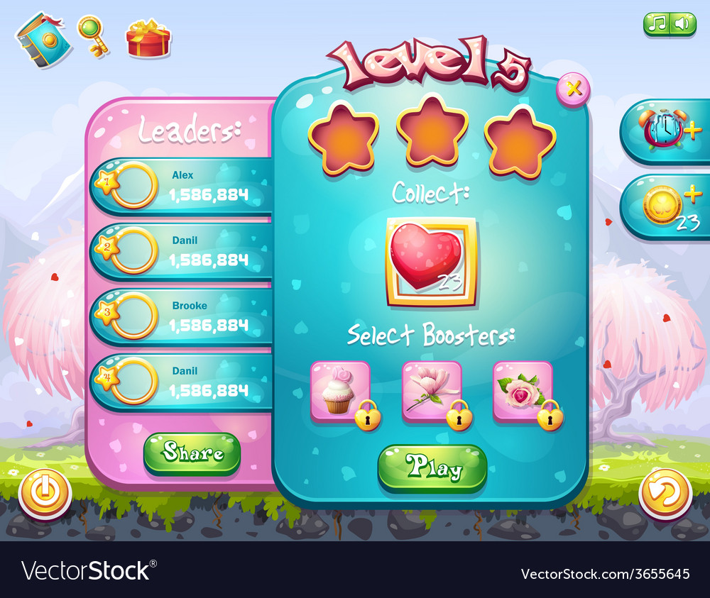 Game window on the theme of valentines day vector | Price: 3 Credit (USD $3)