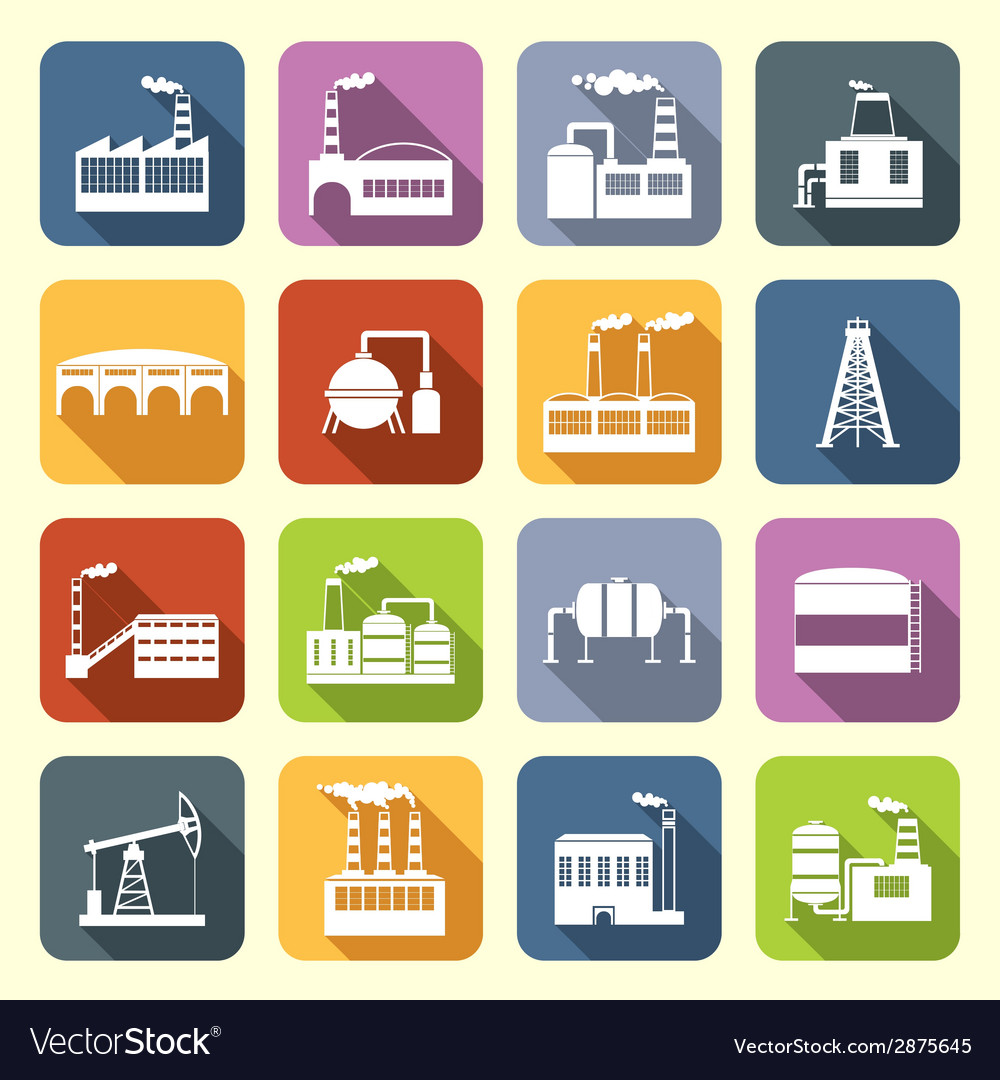 Industrial building icons flat vector | Price: 1 Credit (USD $1)