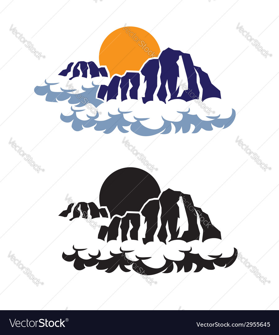 Mountains in the clouds vector | Price: 1 Credit (USD $1)