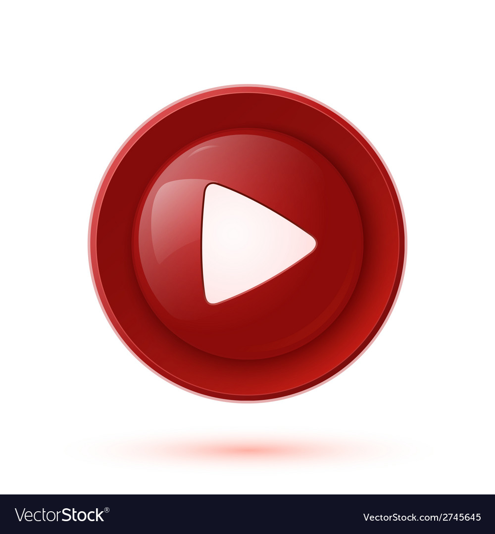 Red glossy play button icon vector | Price: 1 Credit (USD $1)