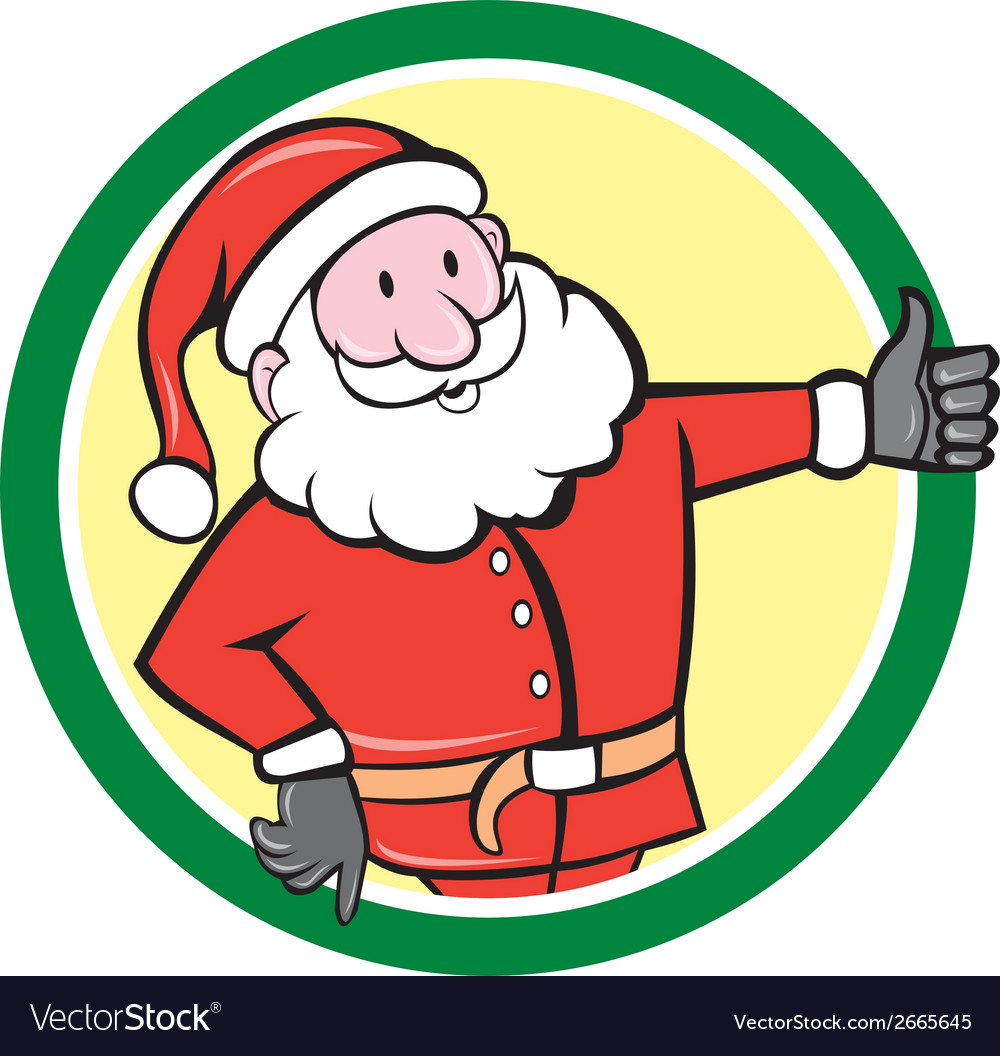 Santa claus father christmas thumbs up circle vector | Price: 1 Credit (USD $1)