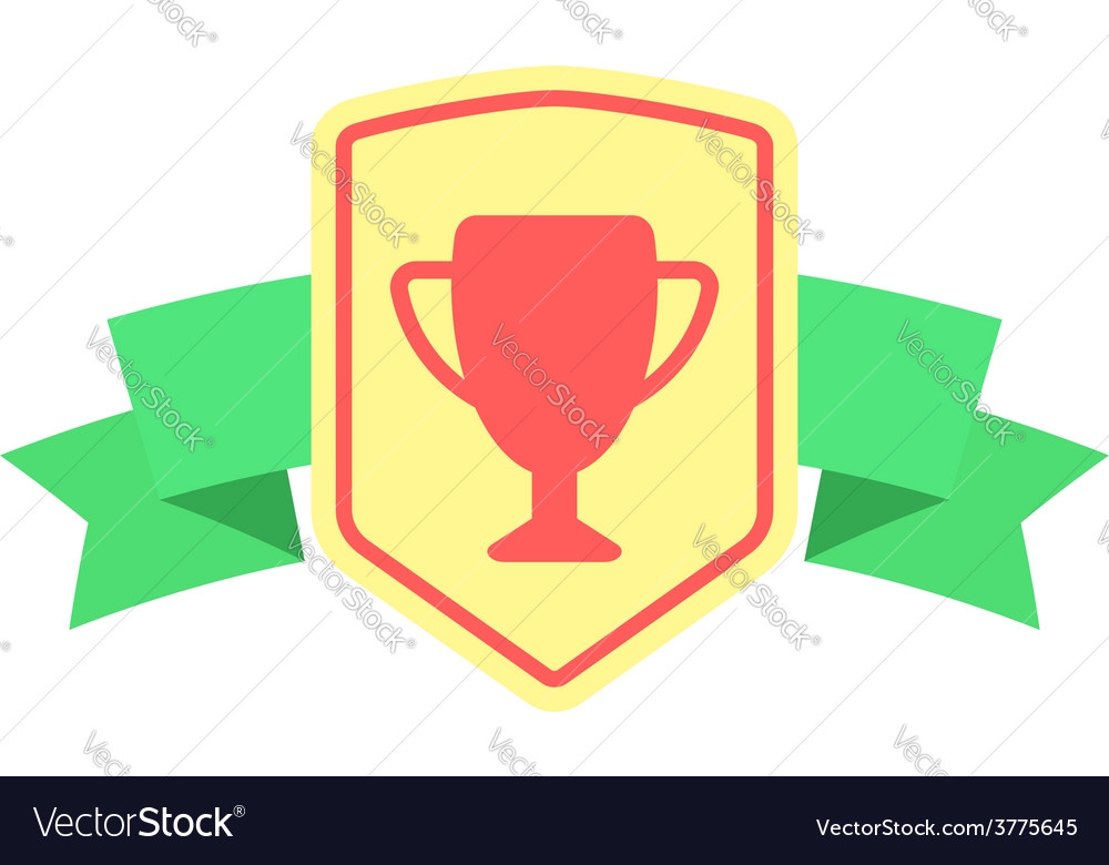 Sign with prize cup and ribbon vector | Price: 1 Credit (USD $1)