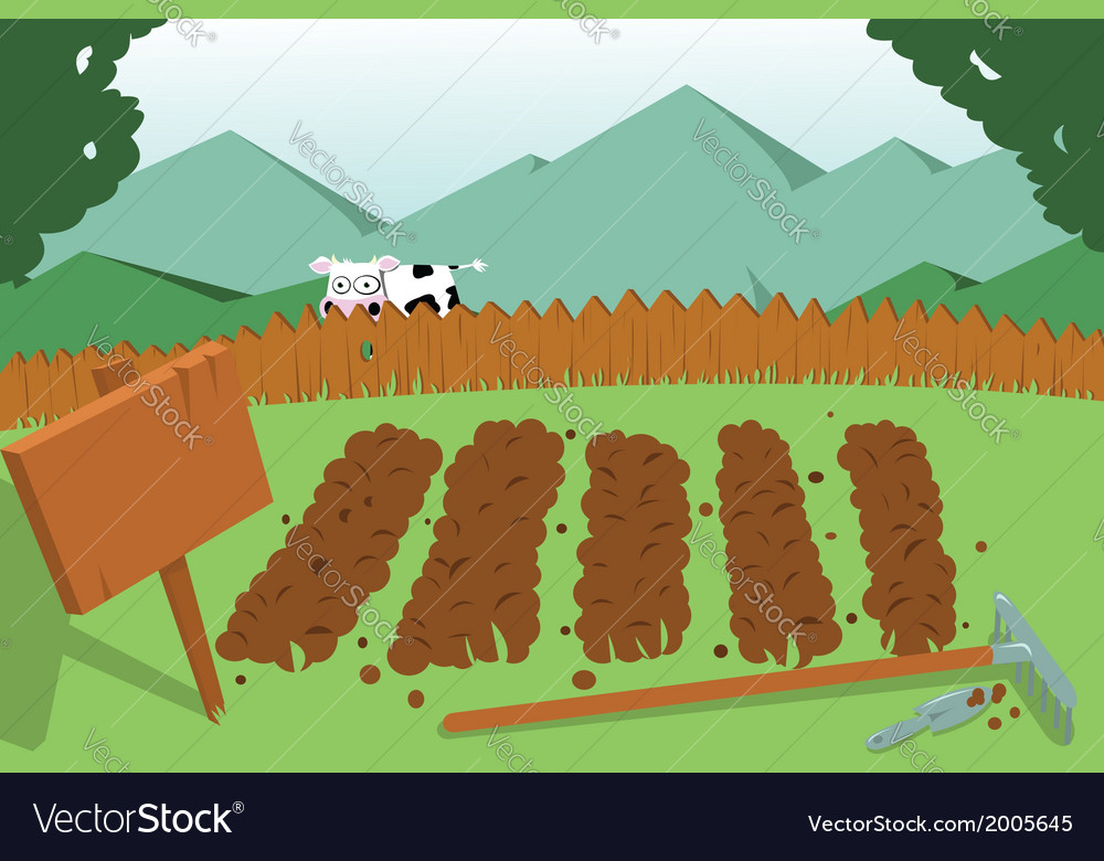 Vegetable garden and cow vector | Price: 1 Credit (USD $1)