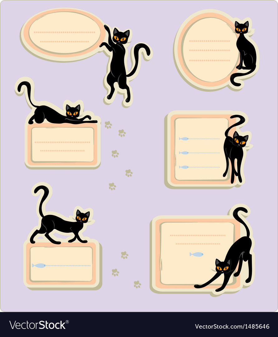 6 cat labels vector | Price: 1 Credit (USD $1)
