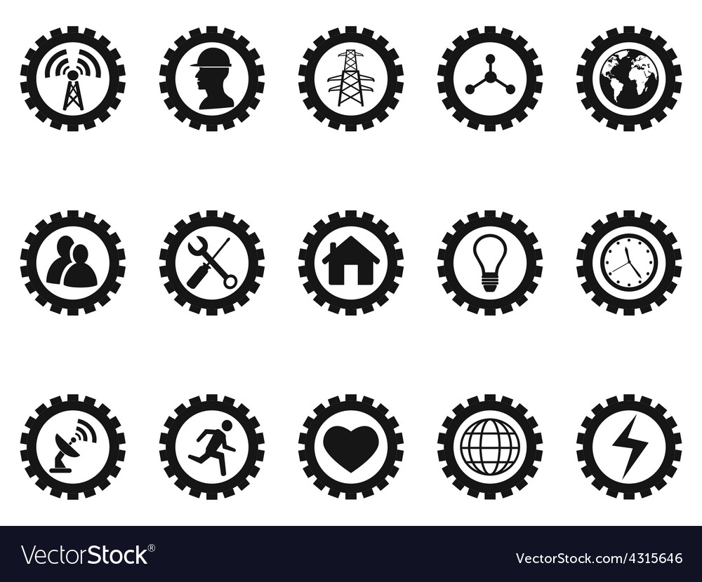 Black gear concept icons set vector | Price: 1 Credit (USD $1)