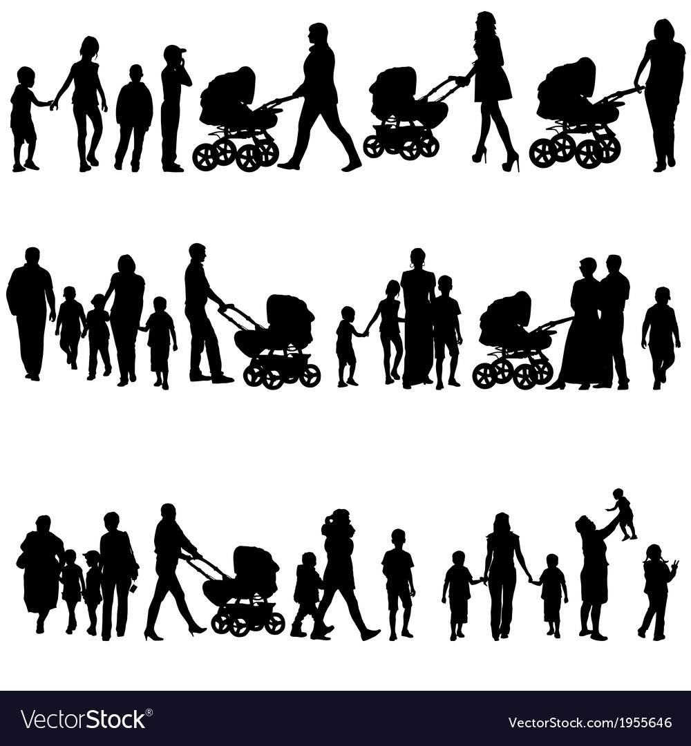 Black set of silhouettes of parents and children vector | Price: 1 Credit (USD $1)