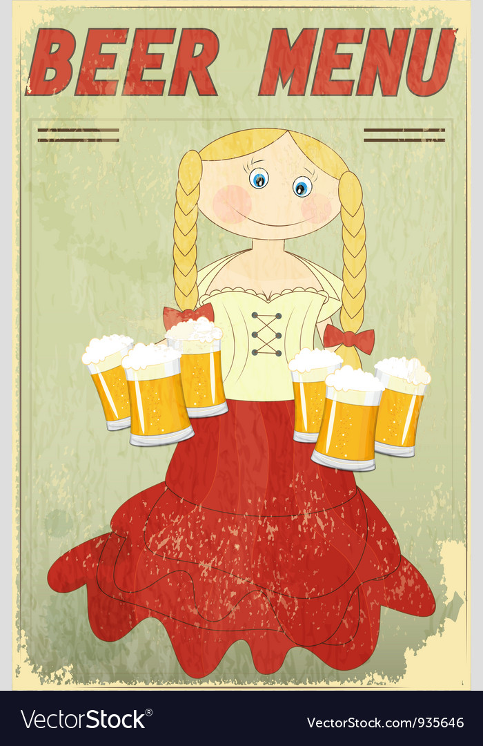 Blond girl with beer vector | Price: 3 Credit (USD $3)