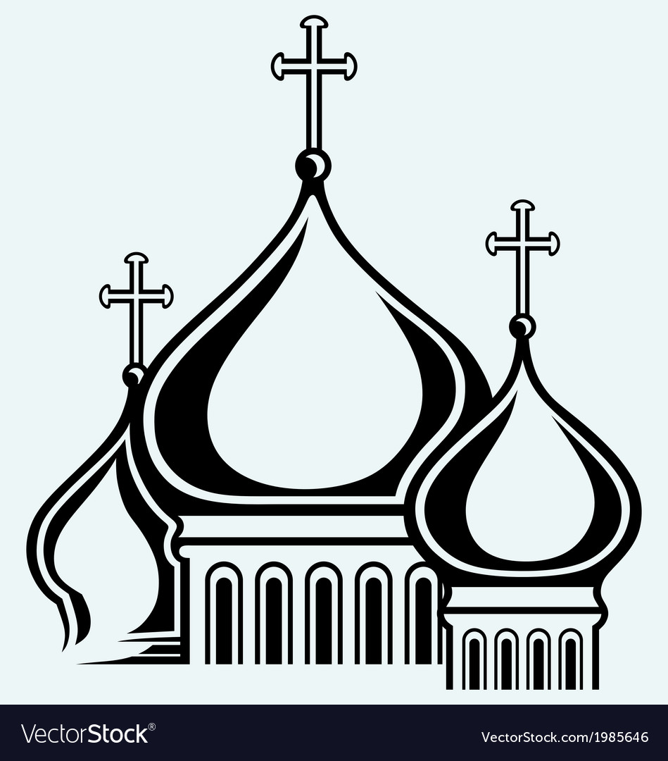 The bulbous domes of orthodox cathedral temple vector | Price: 1 Credit (USD $1)