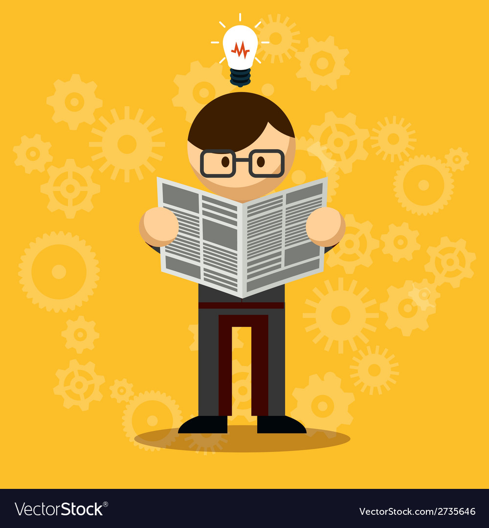 Businessman reading newspaper vector | Price: 1 Credit (USD $1)