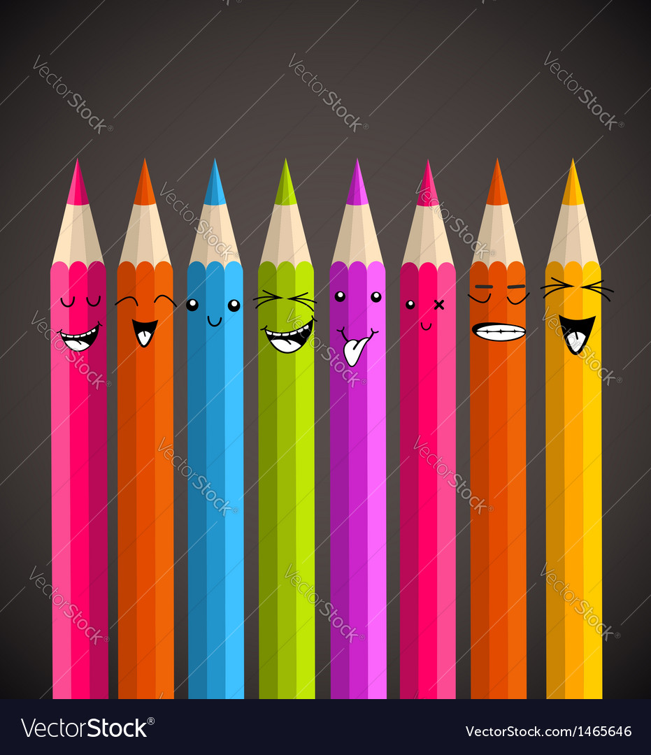 Colorful rainbow pencil funny cartoon vector | Price: 1 Credit (USD $1)