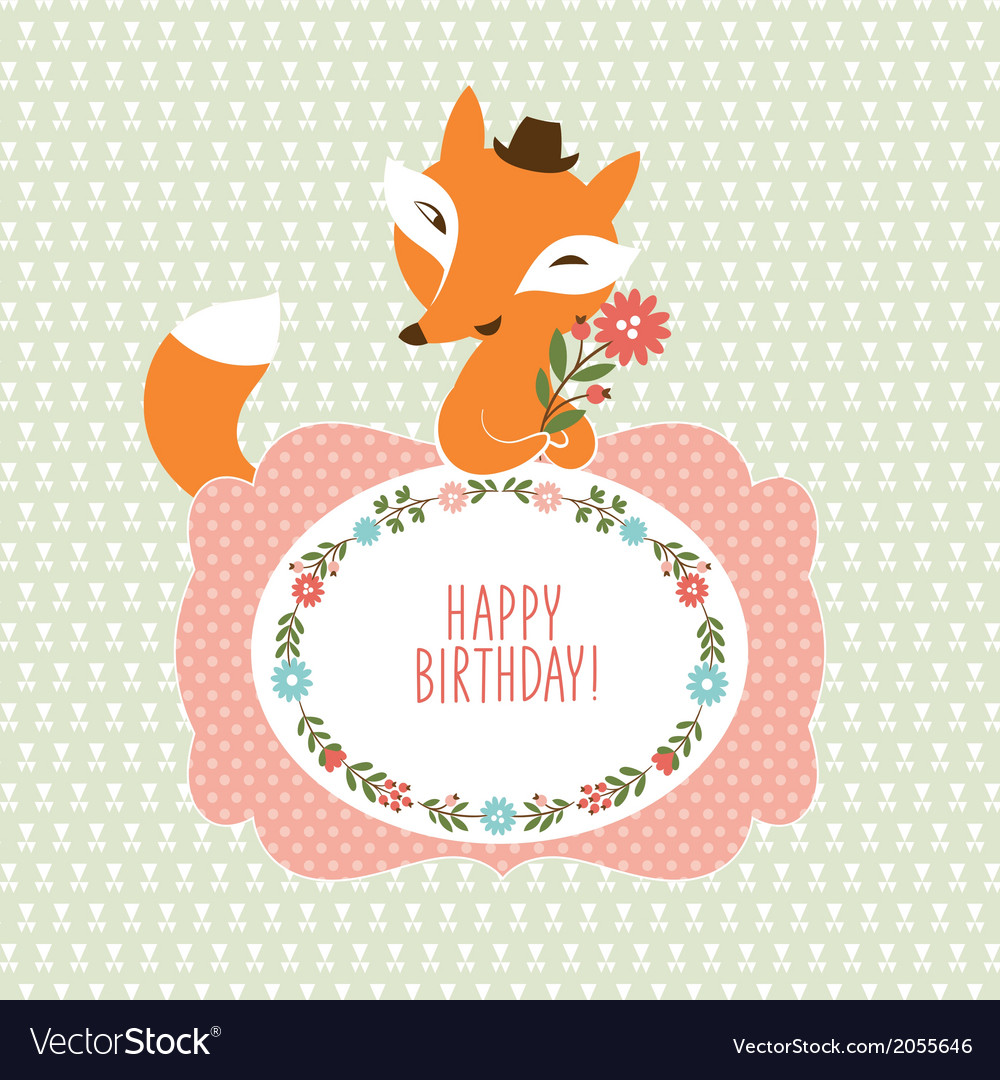 Cute fox greeting card vector | Price: 1 Credit (USD $1)
