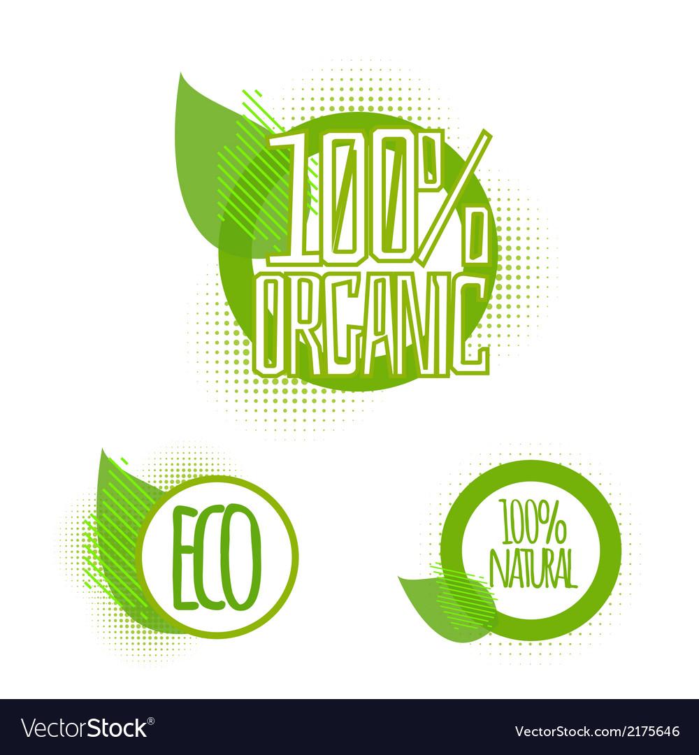 Ecology organic icon set eco-icons vector | Price: 1 Credit (USD $1)
