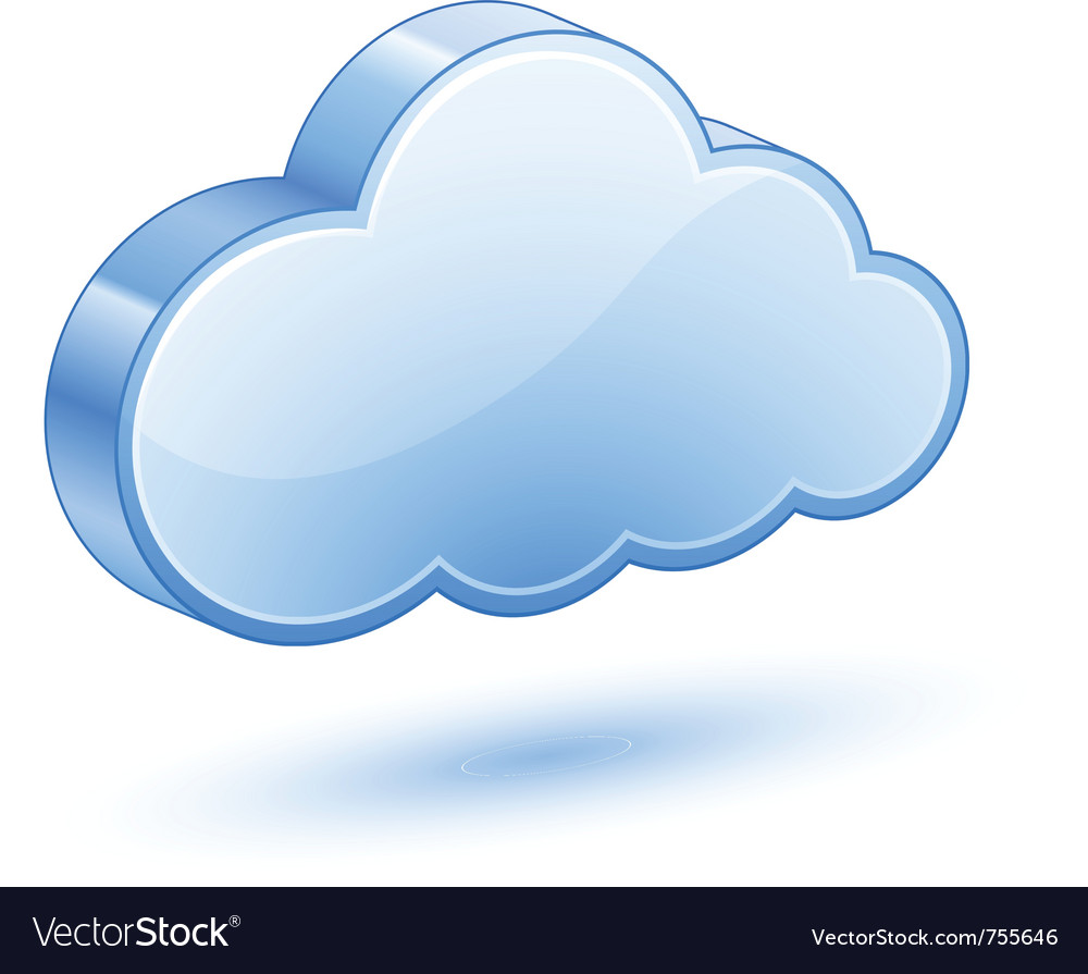 Glossy blue cloud with shadow vector | Price: 1 Credit (USD $1)