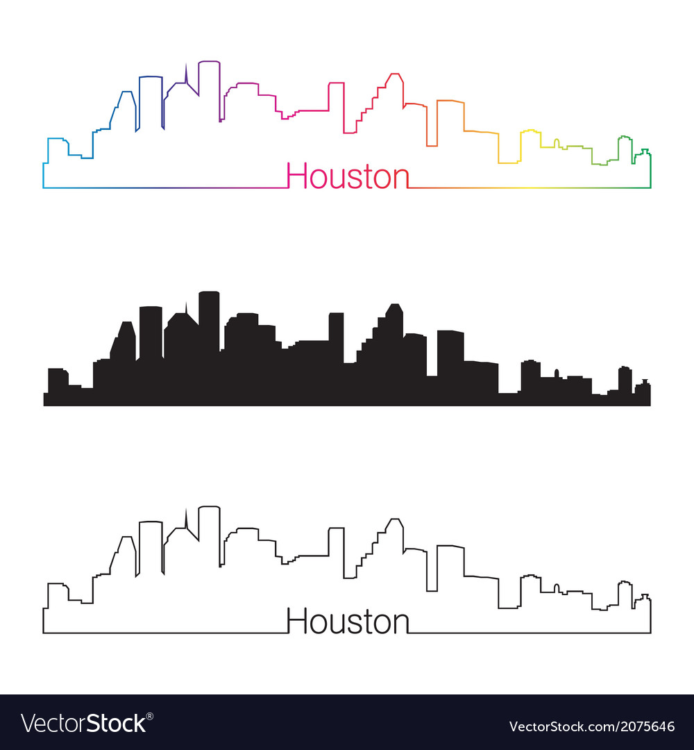 Houston skyline linear style with rainbow vector | Price: 1 Credit (USD $1)