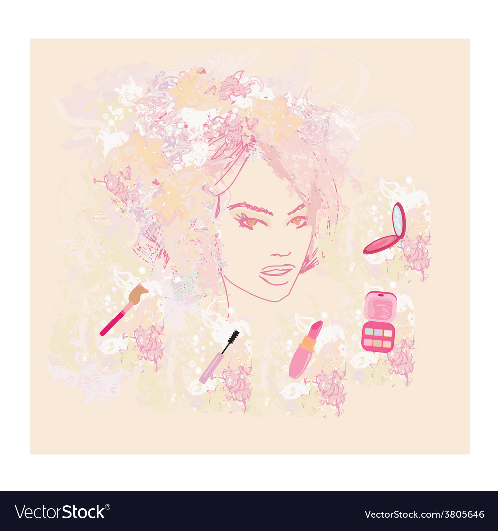 Make-up girl - poster vector | Price: 1 Credit (USD $1)