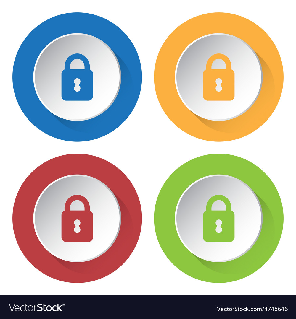 Set of four icons with closed padlock vector | Price: 1 Credit (USD $1)