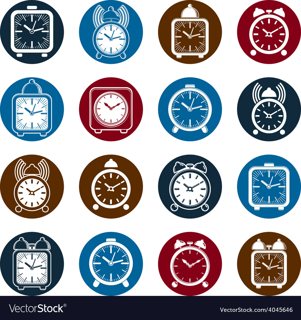 Simple alarm clocks with clock bell decorative vector | Price: 1 Credit (USD $1)