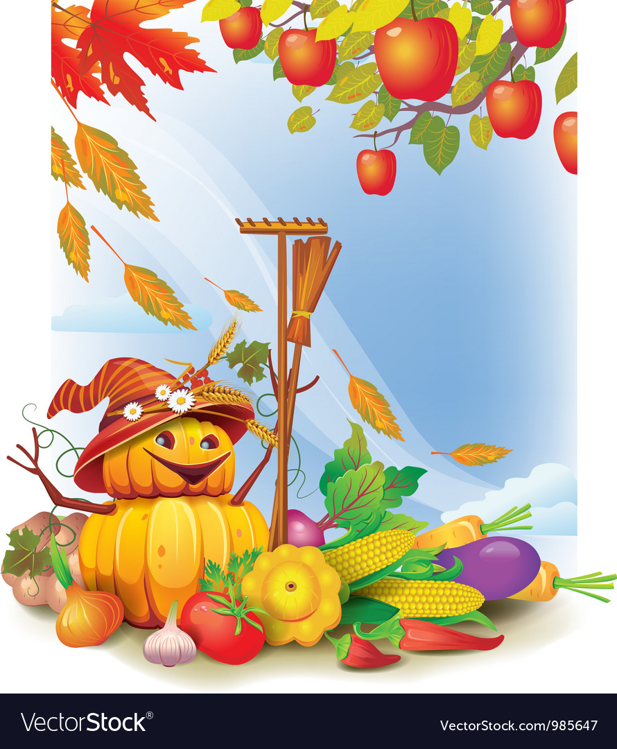 Background with autumn leaves and vegetable vector | Price: 5 Credit (USD $5)