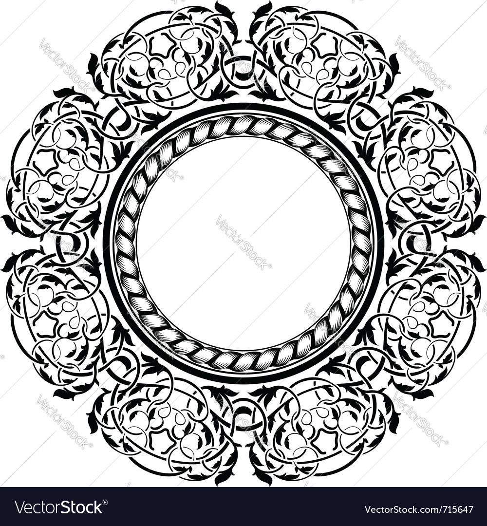 Black frame with ornamental border vector   Price: 1 Credit (USD $1)