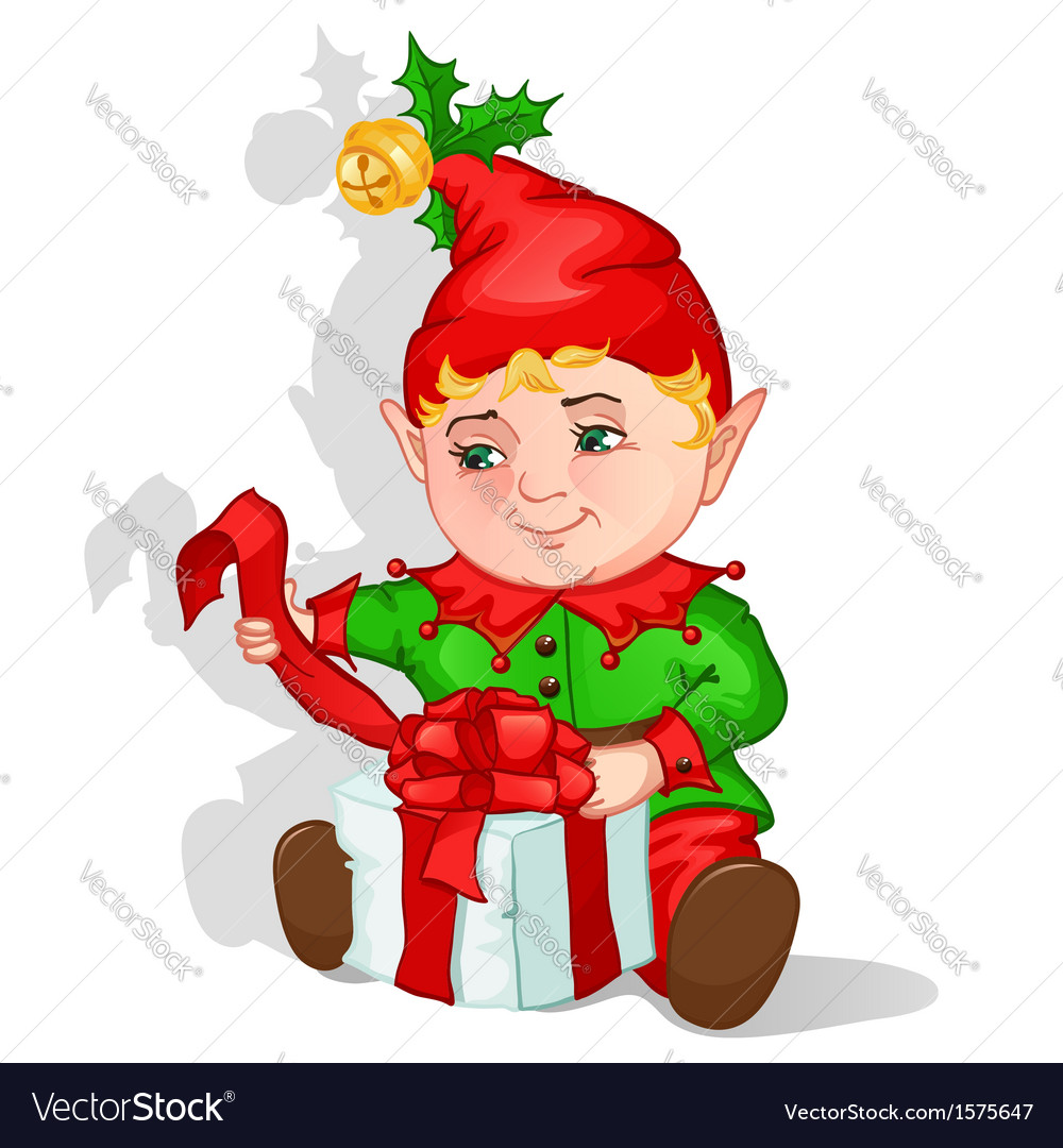 Christmas elf packing gift vector   Price: 1 Credit (USD $1)