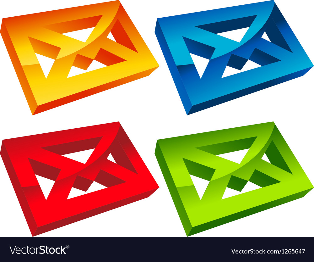 Colorful 3d envelope mail icons vector | Price: 1 Credit (USD $1)